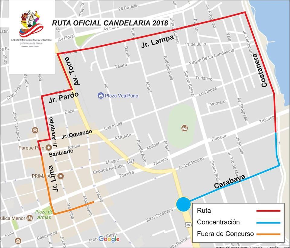Recorrido oficial | Candelaria 2017 | Perú Caporal | perucaporal.com