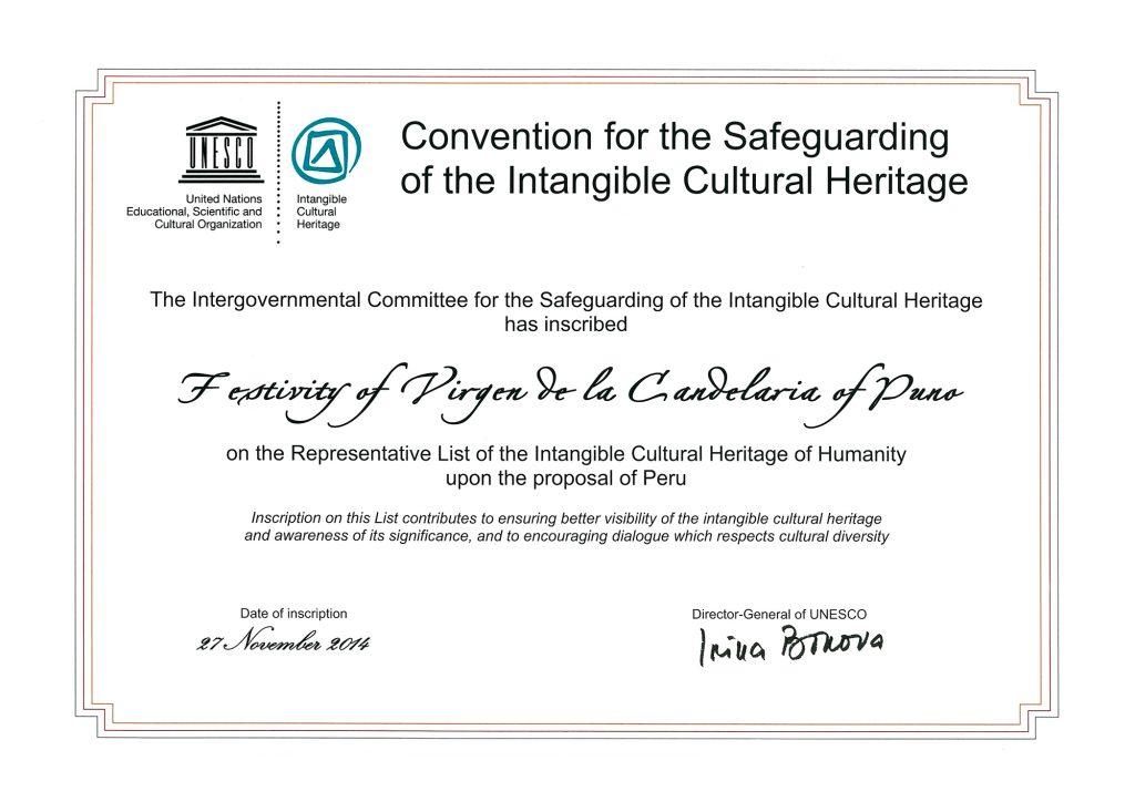 Diploma de la Unesco - Festividad Virgen de la Candelaria | Perú Caporal | perucaporal.com