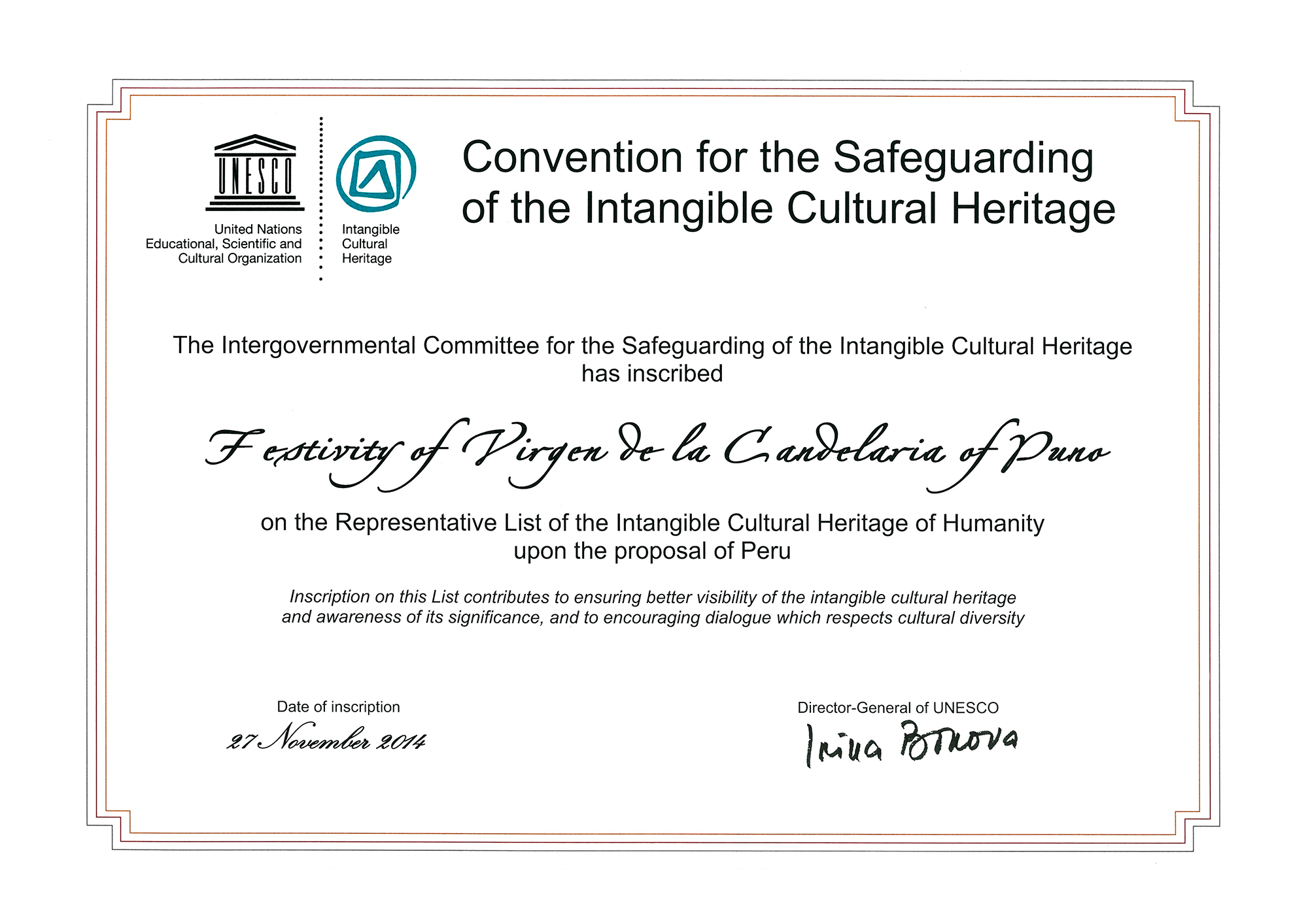 Diploma de la Unesco - Festividad Virgen de la Candelaria   Perú Caporal   perucaporal.com