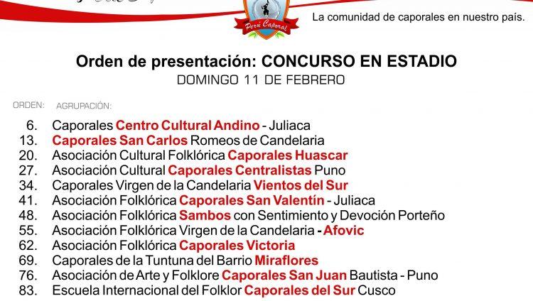 Orden de presentación - Candelaria 2018 - CONCURSO ESTADIO